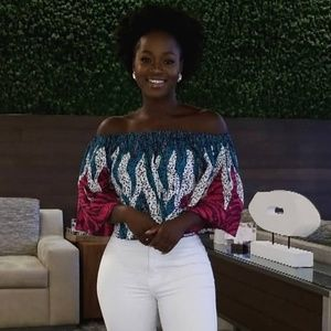 African Print Off The Shoulder Top